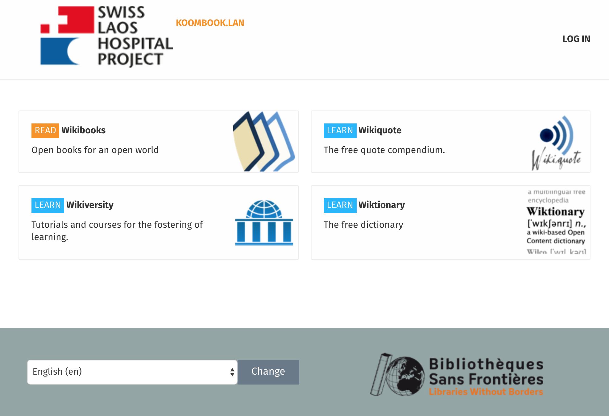 Homepage of the KIWIX Plug local webserver