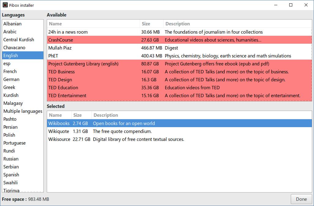 KIWIX Pibox Installer content selector